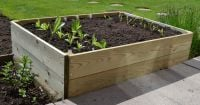 108 Litres - Wooden Timber Raised Rectangular Grow Bed Single Tier - 120cm x 60cm (H15cm)