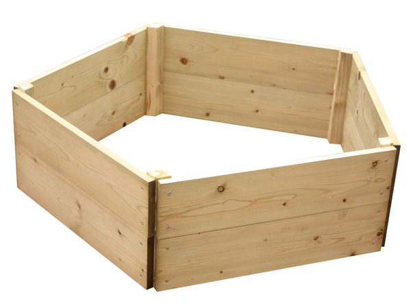 Wooden Timber Raised Pentagon Grow Bed 2-Tier - D60cm (H30cm)