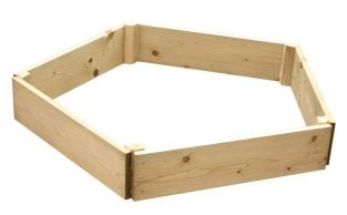Wooden Timber Raised Pentagon Grow Bed Single Tier - D240cm (H15cm)