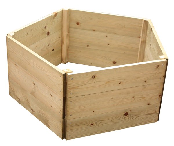 Wooden Timber Raised Pentagon Grow Bed 3-Tier - D90cm (H45cm)