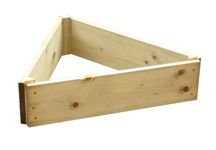 Wooden Timber Raised Triangle Grow Bed Single Tier - L60cm (H15cm)
