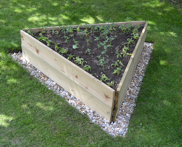 Wooden Timber Raised Triangle Grow Bed 3-Tier - L60cm (H45cm)