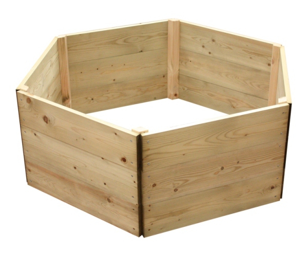 Wooden Timber Raised Hexagon Grow Bed 3-Tier - D120cm (H45cm)