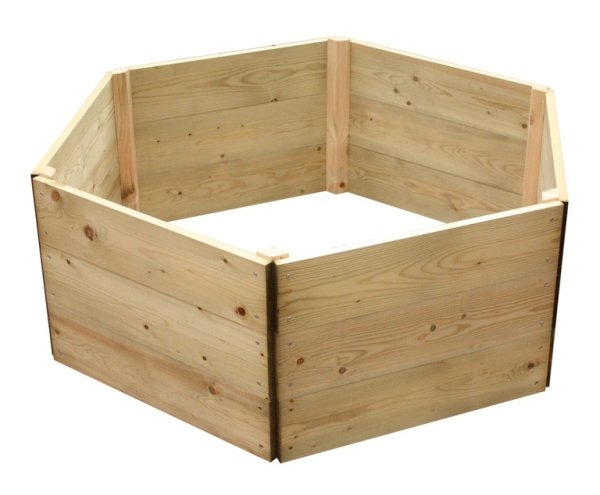 Wooden Timber Raised Hexagon Grow Bed 3-Tier - D240cm (H45cm)