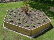 Wooden Timber Raised Hexagon Grow Bed Single Tier - D120cm (H15cm)