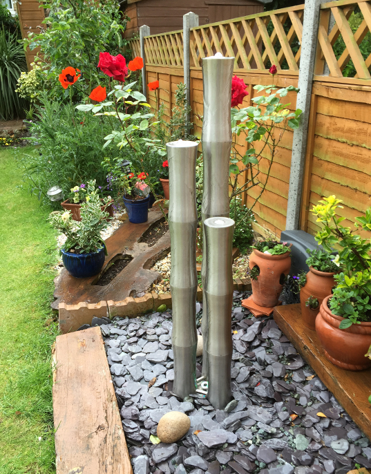 "3ft 1""/95cm Small 3 Brushed Stainless Steel Bamboo Tubes Water Feature With LED Lights On Tubes & Base"
