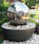50cm Giant Eclipse Stainless Steel Sphere Water Feature with LED lights by Ambienté