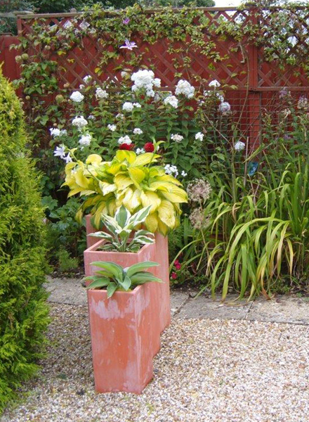 Tall Fibrecotta Terracotta Cube Planters - Mixed Set of 3