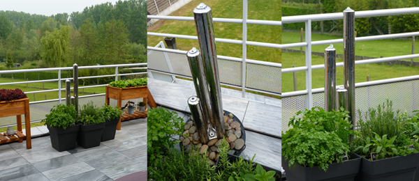 4ft/121cm Medium Stainless Steel Advanced 3 Polished Tubes Water Feature With Lights on Tubes & Base by Ambienté™
