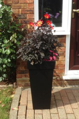 H70cm Black Zinc Tall Flared Square Planter - By Primrose®