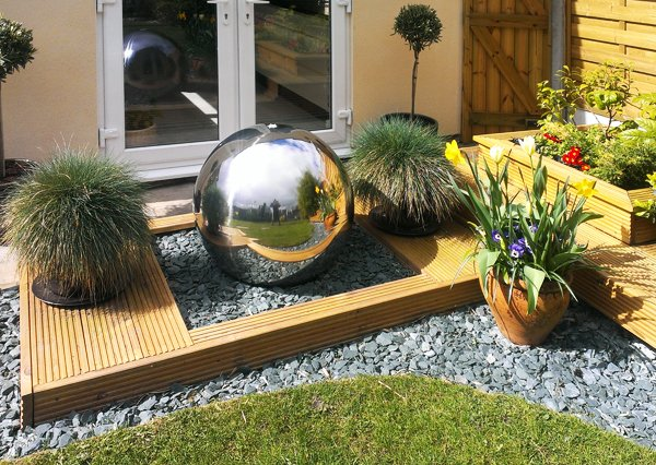 Polished 75cm Stainless Steel Sphere Water Feature, LED Lights