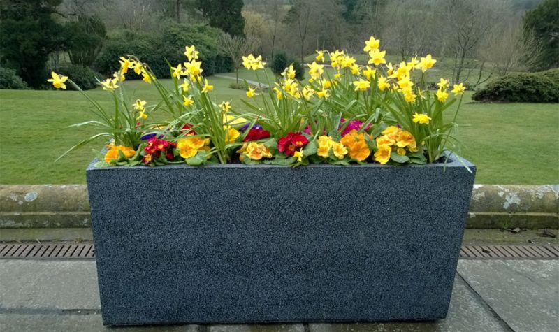100cm Poly-Terrazzo Large Black Trough Planter