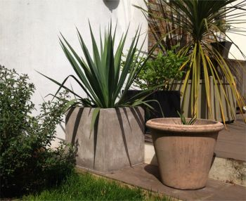 Stone Fibrecotta Cube Planter - Set of 2 - H50cm