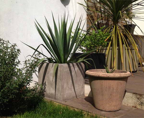 25cm Fibrecotta Stone Cube Planter - Set of 2