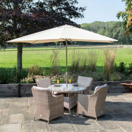 Luxury Rattan 4 Seater Circular Garden Dining Set by Primrose Living