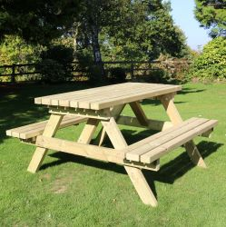 Deluxe Wooden Six Seater Picnic Table - 1.8m (5ft 10in)