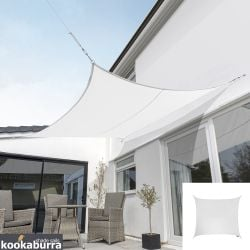 Kookaburra® 5.4m Square Polar White Breathable Shade Sail (Knitted)