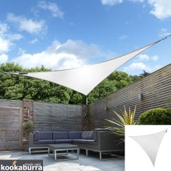 Kookaburra® 5m Triangle Polar White Breathable Party Shade Sail (Knitted 185gsm)