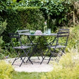 Rive Droite 4 Seater Steel Bistro Set in Carbon