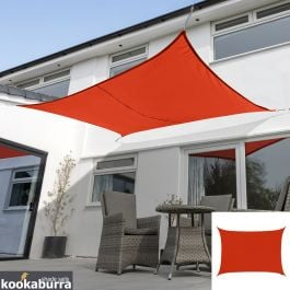 Kookaburra® 6mx5m Rectangle Red Breathable Party Shade Sail (Knitted 185gsm)