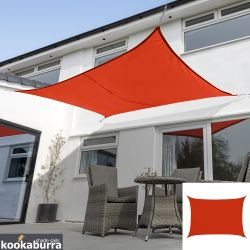 Kookaburra® 4mx3m Rectangle Red Breathable Party Shade Sail (Knitted 185g)
