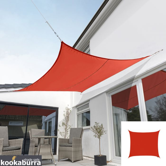 Kookaburra® 3.6m Square Red Breathable Party Shade Sail (Knitted 185g)