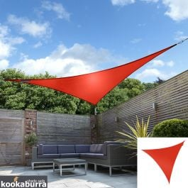 Kookaburra® 5m Triangle Red Breathable Party Shade Sail (Knitted 185g)