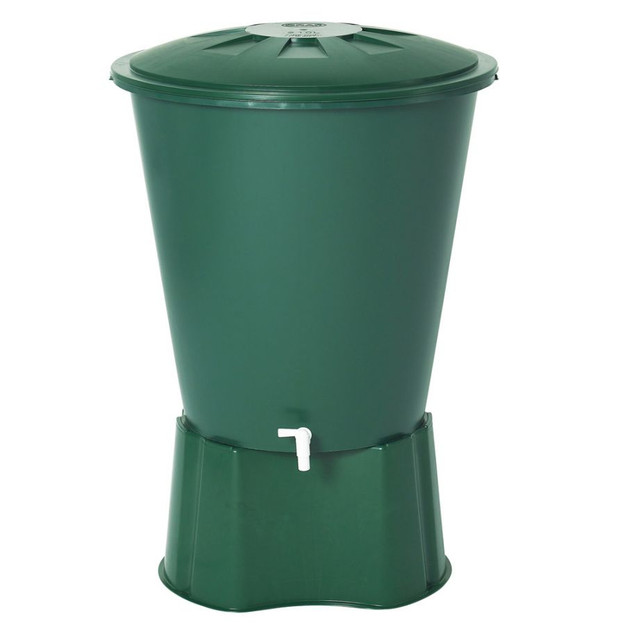 210 Litre Round Rain Water Butt including Tap and Lid in Green