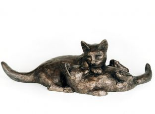 Two Cats Playing Sculpture