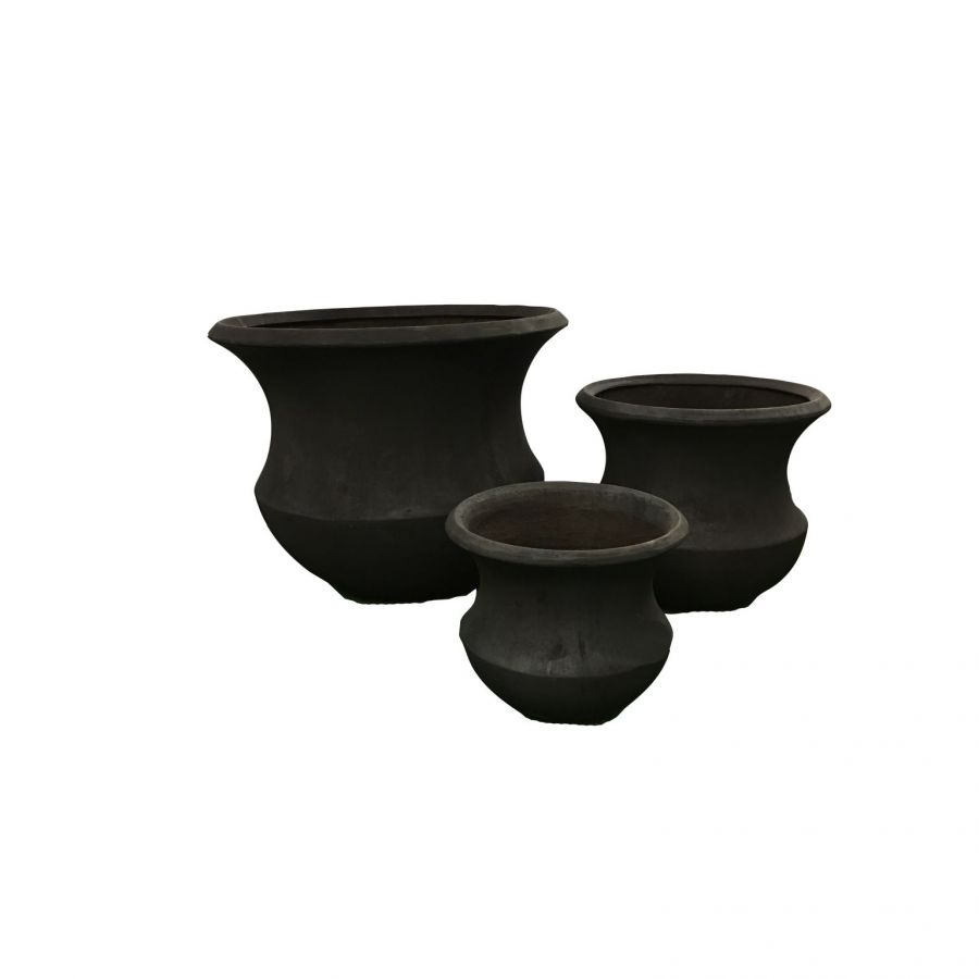 86cm Modern Iva Planter Set -  Charcoal 86cm (2 ft 9in)
