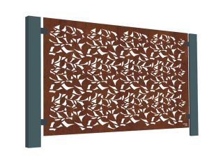 3ft 2in Corten Steel Decorative Balustrade Panel in Branches Design
