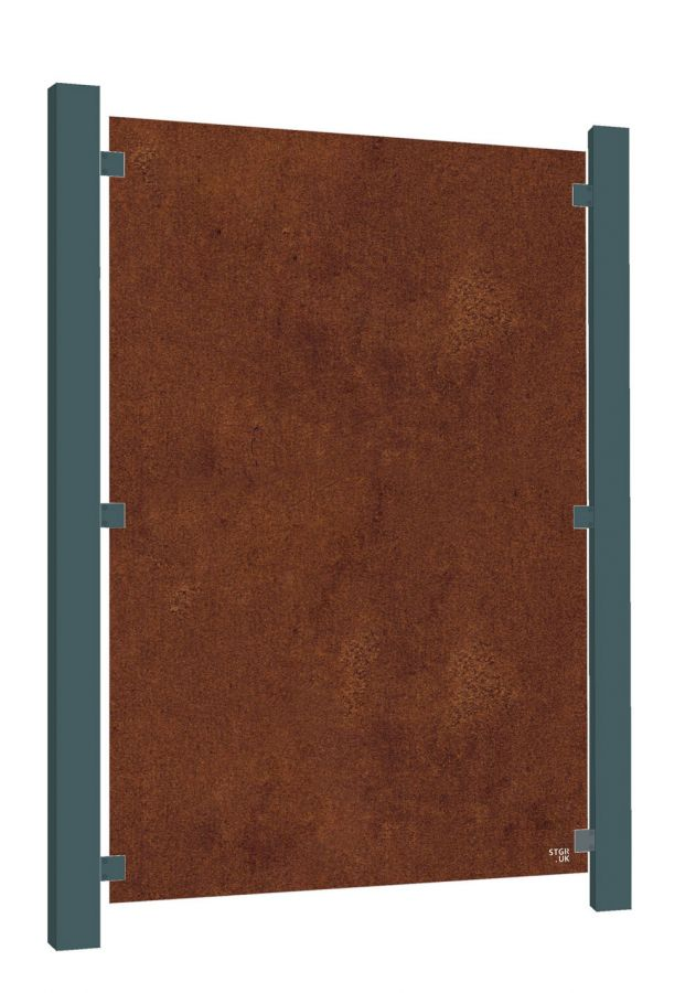 Blank Decorative Full Height Screening Fence Panel in Corten Steel - 5ft 8in