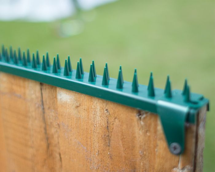 Featherboard Fence Spikes with 2 Clamps - Green