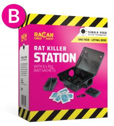 Rat Killer Station with 6 x 10g Paste Sachets - Racan Force