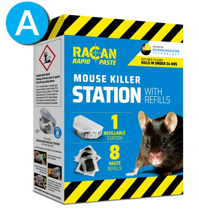 Reusable Tamperproof Mouse Killer Station with 8 x 10g Bait Refills - Racan Rapid