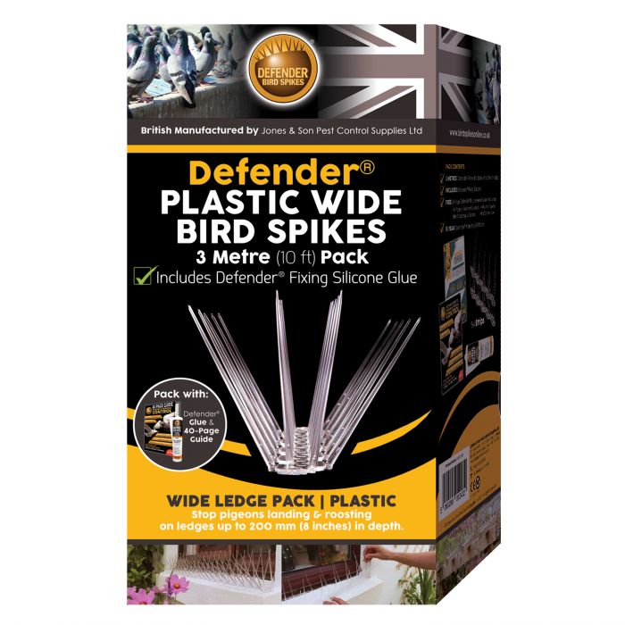 Defender® Plastic Wide Bird Spikes 3 Metre Pack