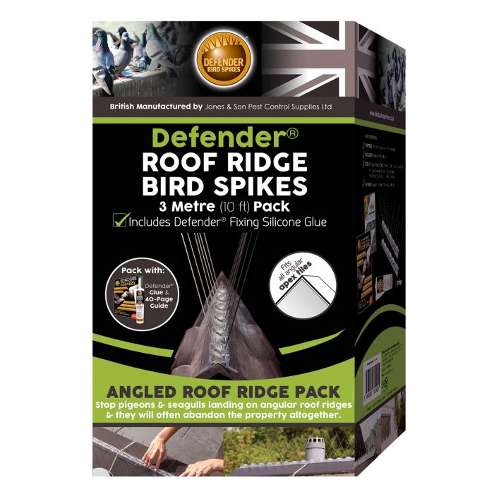 Defender® Roof Ridge Bird Spikes 3 Metre Pack