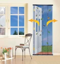 4 Piece Doorway Insect Curtain - Charcoal