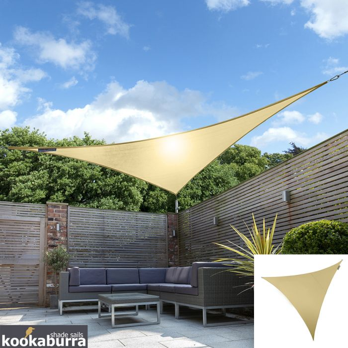 Kookaburra® 5m Triangle Sand Breathable Party Shade Sail (Knitted 185g)