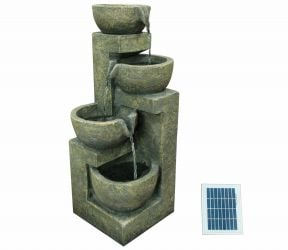 H54cm Overflowing Bowl 4 Tier Solar Powered Water Feature