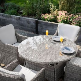 Luxury 4 Seater Circle Garden Dining Set in Stone Rattan by Primrose Living