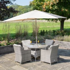 Luxury 4 Seater Circular Garden Dining Set in Stone Rattan by Primrose Living