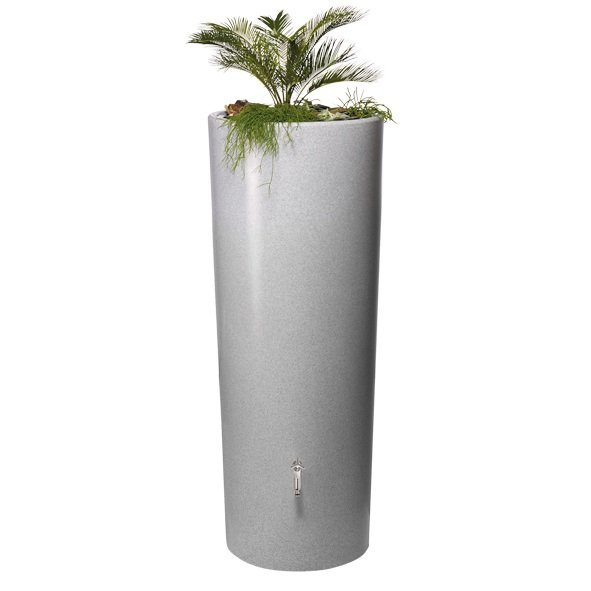 350 Litre Stone Effect 2 in 1 Water Tank with Planter in Silver
