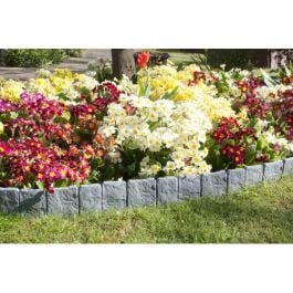 Stone Effect Plastic Lawn Edging - 10 Pack (2.43m)