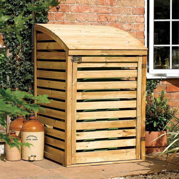 H1.28m (4ft 2in) Wooden Single Wheelie Bin Store by Rowlinson®