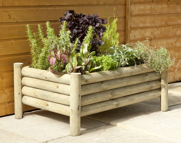 Raised Log Planter