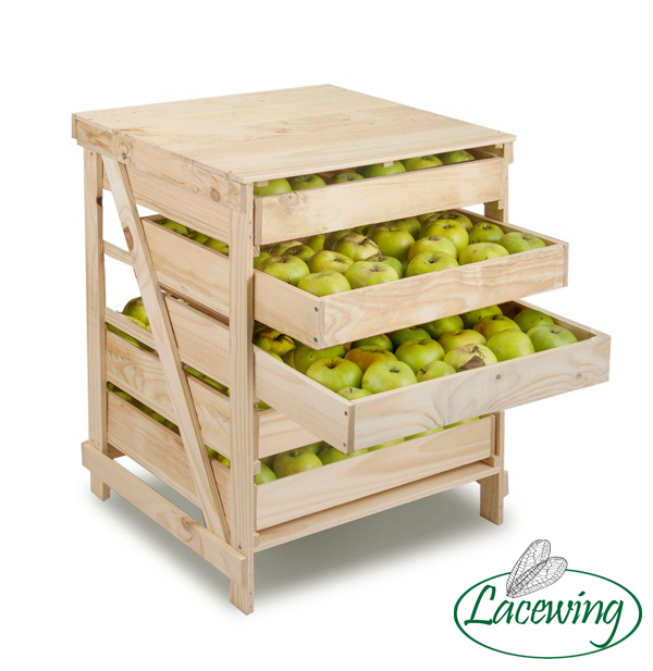 5 Drawer Wooden Apple Storage Rack H78cm x W60cm x D55cm by Lacewing™