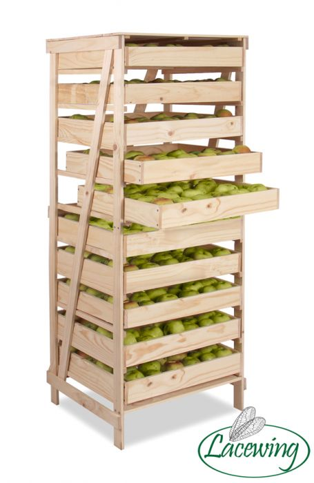 10 Drawer Wooden Apple Storage Rack H156cm x W60cm x D55cm by Lacewing™