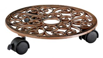 Round Antique Cast Iron Indoor Plant Pot Mover/Trolley - 29cm (11.4in)