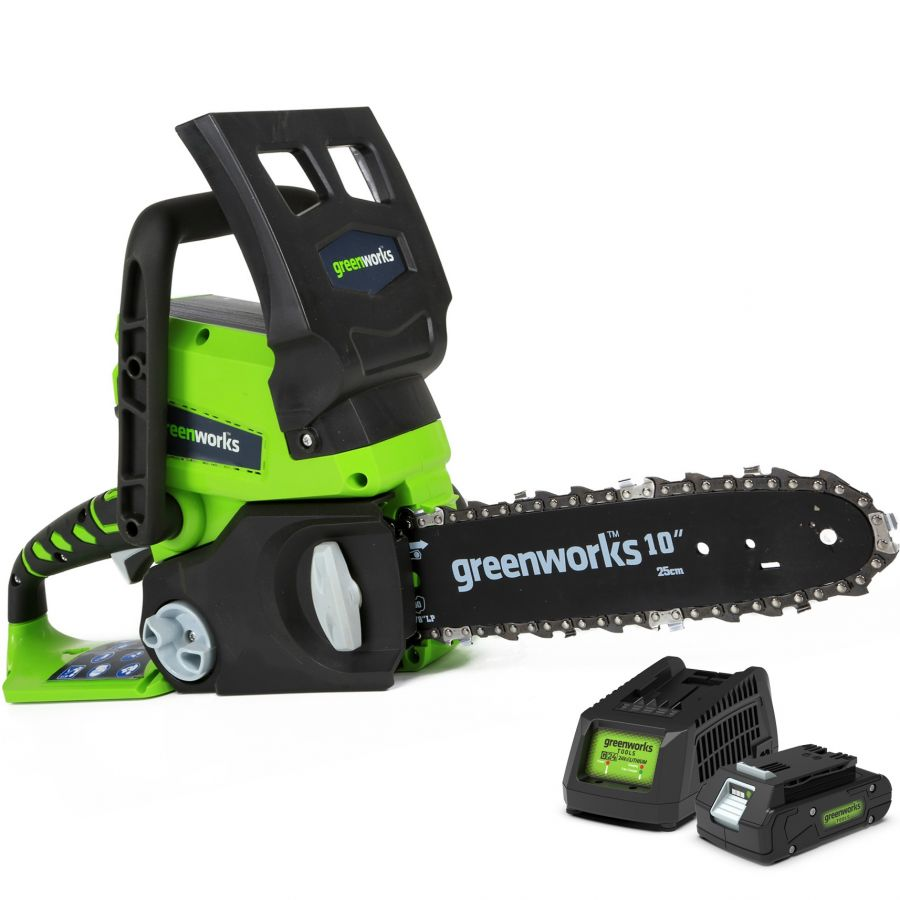 Greenworks 25cm (10in) 24V Chainsaw with 2Ah Battery & Charger